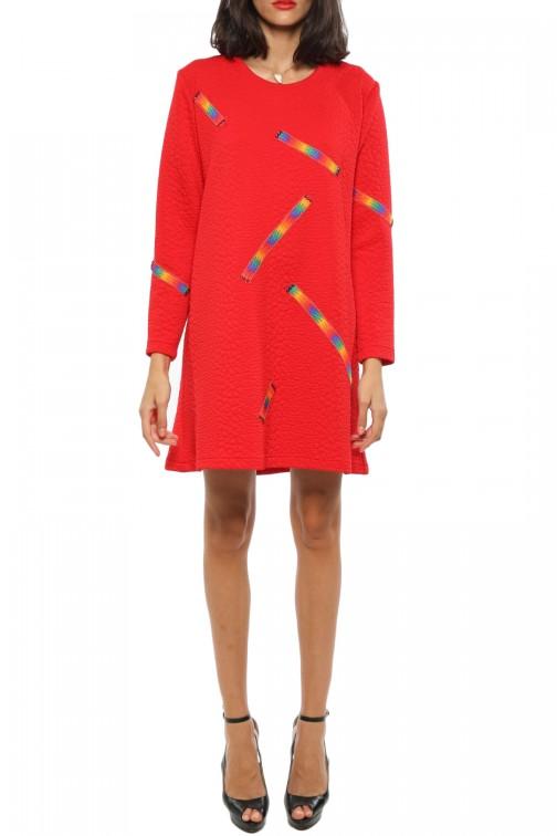 Robe Rouge Coton Piqué