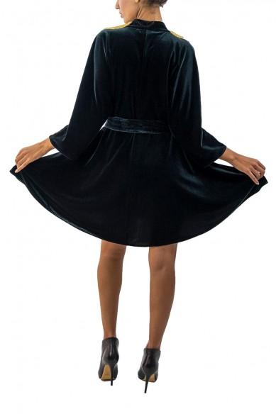 Robe courte velours brodée