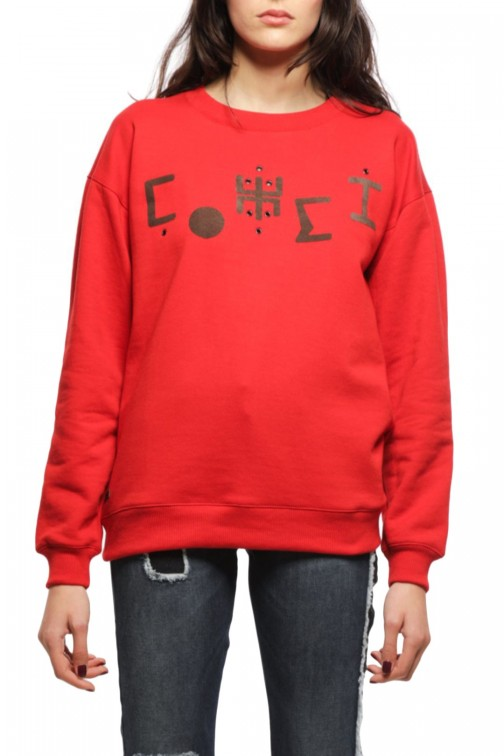 SWEAT-SHIRT ROUGE OVERSIZE