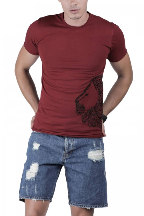 T-SHIRT BORDEAUX LION
